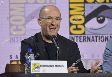 """Christopher Markus speaks at the Writing """"Avengers: Endgame"""" panel on day two of Comic-Con International, in San Diego"""
