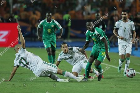 Senegal's Ismaila Sarr runs for the ball during the African Cup of Nations final soccer match between Algeria and Senegal in Cairo International stadium in Cairo, Egypt
