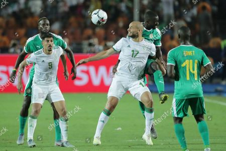 Stock Image of Algeria's Adlane Guedioura and Senegal's Youssouf Sabaly fight for the ball during the African Cup of Nations final soccer match between Algeria and Senegal in Cairo International stadium in Cairo, Egypt