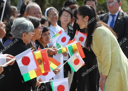Japan's Princess Mako (R) greets residents of the Okinawa I Japanese settlement, in Santa Cruz, Bolivia, 19 July 2019. The Princess is visiting Bolivia to celebrate 120 years of Japanese presence in the country.