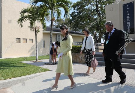 Japan's Princess Mako (L) walks after giving a wreath on the Posthumous Monument during her visit to the Okinawa I Japanese settlement, in Santa Cruz, Bolivia, 19 July 2019. The Princess is visiting Bolivia to celebrate 120 years of Japanese presence in the country.