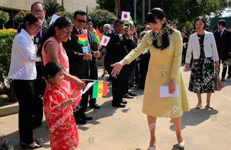 Japan's Princess Mako (C) greets a girl during her visit to the Okinawa I Japanese settlement, in Santa Cruz, Bolivia, 19 July 2019. The Princess is visiting Bolivia to celebrate 120 years of Japanese presence in the country.