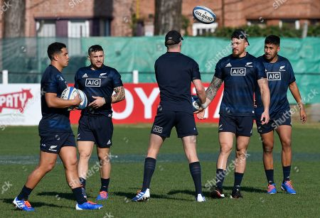 New Zealand All Blacks, from left, Anton Lienert-Brown, T J Perenara, Jordie Barrett, back to camera, Sonny Bill Williams and Rieko Ioane, train during a trainin session in Buenos Aires, Argentina, . New Zealand's All Blacks are training for their Saturday Rugby Championship match against Argentina's Pumas