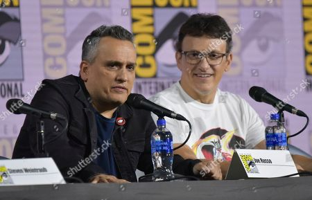 Joe Russo, Anthony Russo. Joe Russo, left, and Anthony Russo participate in a conversation with the Russo Brothers on day two of Comic-Con International, in San Diego