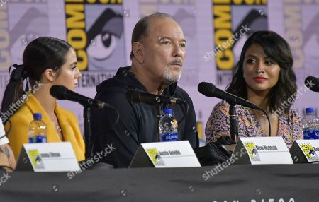 "Alexa Nisenson, Ruben Blades, Karen David. Alexa Nisenson, from left, Ruben Blades and Karen David participate in a ""Fear The Walking Dead"" Panel on day two of Comic-Con International, in San Diego"