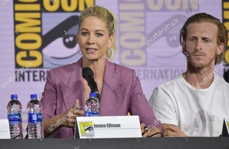 "Stock Picture of Jenna Elfman, Austin Amelio. Jenna Elfman, left, and Austin Amelio participate at a ""Fear The Walking Dead"" Panel on day two of Comic-Con International, in San Diego"