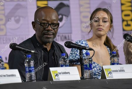 "Lennie James, Alycia Debnam-Carey. Lennie James, left, and Alycia Debnam-Carey participate in a ""Fear The Walking Dead"" Panel on day two of Comic-Con International, in San Diego"