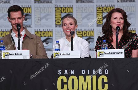 """Stock Photo of Jason Dohring, Kristen Bell, Diane Ruggiero-Wright. Jason Dohring, from left, Kristen Bell and Diane Ruggiero-Wright participate in the world premiere and Q&A of """"Veronica Mars"""" panel on day two of Comic-Con International, in San Diego"""