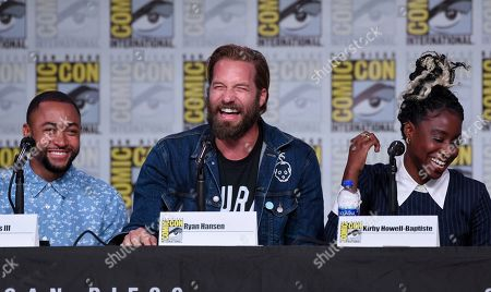 """Percy Daggs III, Ryan Hansen, Kirby Howell-Baptiste. Percy Daggs III, from left, Ryan Hansen and Kirby Howell-Baptiste participate in the world premiere and Q&A of """"Veronica Mars"""" panel on day two of Comic-Con International, in San Diego"""