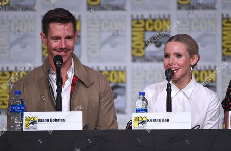 """Jason Dohring, Kristen Bell. Jason Dohring, left, and Kristen Bell participate in the world premiere and Q&A of """"Veronica Mars"""" panel on day two of Comic-Con International, in San Diego"""