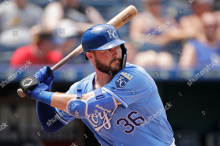 Kansas City Royals' Cam Gallagher bats during the seventh inning of a baseball game against the Chicago White Sox, in Kansas City, Mo