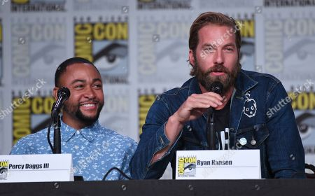 """Percy Daggs III, Ryan Hansen. Percy Daggs III, left, and Ryan Hansen participate in the world premiere and Q&A of """"Veronica Mars"""" panel on day two of Comic-Con International, in San Diego"""