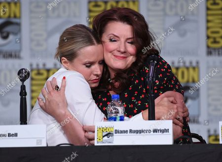 "Stock Picture of Kristen Bell, Diane Ruggiero-Wright. Kristen Bell, left, and Diane Ruggiero-Wright hug at the world premiere and Q&A of ""Veronica Mars"" panel on day two of Comic-Con International, in San Diego"