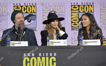 """Ryan Hurst, Nadia Hilker, Eleanor Matsuura. Ryan Hurst, from left, Nadia Hilker and Eleanor Matsuura participate in """"The Walking Dead"""" panel on day two of Comic-Con International, in San Diego"""