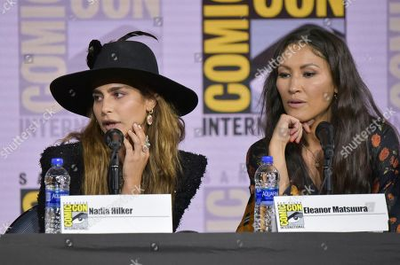 """Nadia Hilker, Eleanor Matsuura. Nadia Hilker, left, and Eleanor Matsuura participate in """"The Walking Dead"""" panel on day two of Comic-Con International, in San Diego"""