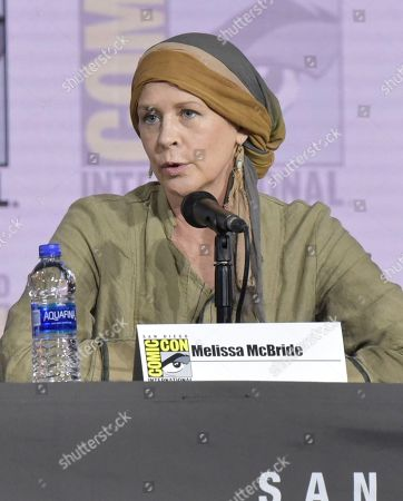 """Melissa McBride speaks at """"The Walking Dead"""" panel on day two of Comic-Con International, in San Diego"""
