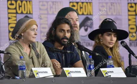 "Melissa McBride, Avi Nash, Ryan Hurst, Nadia Hilker. Melissa McBride, from left, Avi Nash, Ryan Hurst and Nadia Hilker participate in ""The Walking Dead"" panel on day two of Comic-Con International, in San Diego"