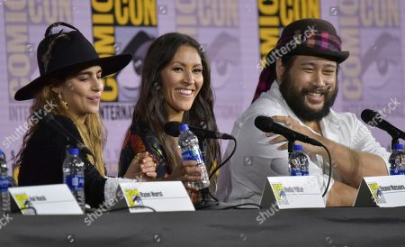 """Nadia Hilker, Eleanor Matsuura, Cooper Andrews. Nadia Hilker, from left, Eleanor Matsuura and Cooper Andrews participate in """"The Walking Dead"""" panel on day two of Comic-Con International, in San Diego"""
