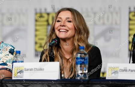 "Sarah Chalke speaks at the ""Rick and Morty"" panel on day two of Comic-Con International, in San Diego"