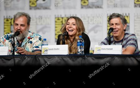 "Dan Harmon, Sarah Chalke, Chris Parnell. Dan Harmon, from left, Sarah Chalke and Chris Parnell participate in the ""Rick and Morty"" panel on day two of Comic-Con International, in San Diego"