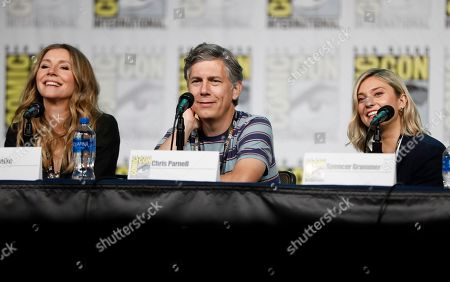 "Sarah Chalke, Chris Parnell, Spencer Grammer. Sarah Chalke, from left, Chris Parnell and Spencer Grammer participate in the ""Rick and Morty"" panel on day two of Comic-Con International, in San Diego"