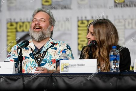 "Stock Image of Dan Harmon, Sarah Chalke. Dan Harmon, from left, and Sarah Chalke participate in the ""Rick and Morty"" panel on day two of Comic-Con International, in San Diego"