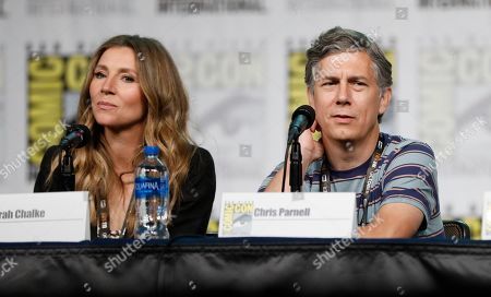 "Sarah Chalke, Chris Parnell. Sarah Chalke, left, and Chris Parnell participate in the ""Rick and Morty"" panel on day two of Comic-Con International, in San Diego"