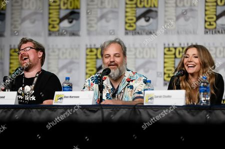 "Justin Roiland, Dan Harmon, Sarah Chalke. Justin Roiland, from left, Dan Harmon and Sarah Chalke participate in the ""Rick and Morty"" panel on day two of Comic-Con International, in San Diego"