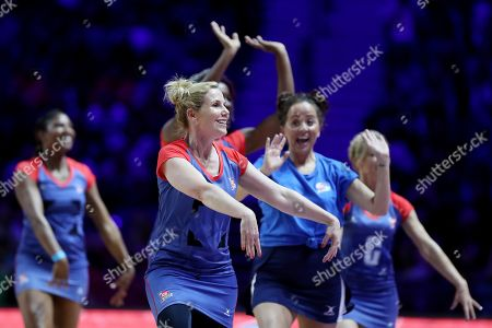 Jennifer Saunders team warm-up before the Sport Relief celebrity match