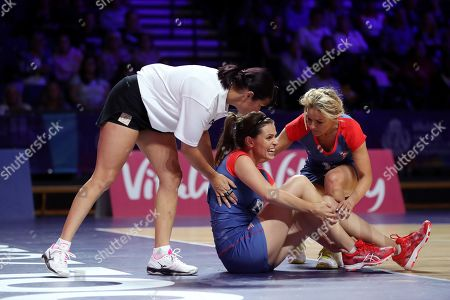 Ellie Taylor injures herself during the Sport Relief celebrity match