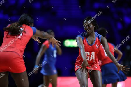 Oti Mabuse celebrates scoring a goal with Sahsa Corbin during the Sport Relief celebrity match
