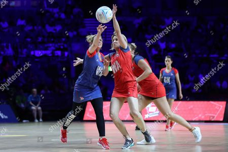 Sally Phillips and Katharine Merry during the Sport Relief celebrity match