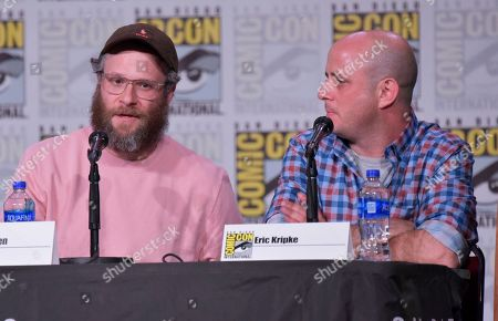 """Seth Rogen, Eric Kripke. Seth Rogen, left, and Eric Kripke participate in """"The Boys"""" panel on day two of Comic-Con International, in San Diego"""