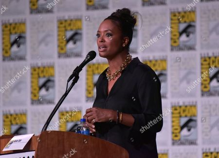 """Aisha Tyler moderates """"The Boys"""" panel on day two of Comic-Con International, in San Diego"""