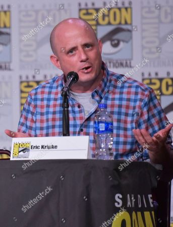 """Eric Kripke speaks at the """"The Boys"""" panel on day two of Comic-Con International, in San Diego"""