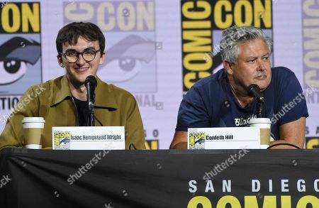 "Isaac Hempstead Wright, Conleth Hill. Isaac Hempstead Wright, left, and Conleth Hill appear at the ""Game of Thrones"" panel on day two of Comic-Con International, in San Diego"