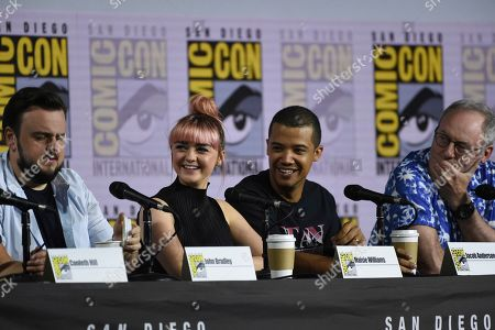 """Maisie Williams, Jacob Anderson, Liam Cunningham. John Bradley, from left, Maisie Williams, Jacob Anderson and Liam Cunningham appear during the """"Game of Thrones"""" panel on day two of Comic-Con International, in San Diego"""