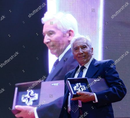 Stock Photo of Jose Carlos Ruiz receives the silver cross during a tribute to his film career at the inauguration of the Guanajuato International Film Festival (GIFF) 2019, in San Miguel de Allende, Guanajuato, Mexico, 19 July 2019.