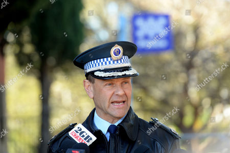 Stock Photo of New South Wales Police Assistant Commissioner Mark Jones speaks during a press conference outside Sutherland Police Station in Sydney, Australia, 20 July 2019. Australian Lucas Fowler and his American girlfriend, Chynna Noelle Deese, were found dead on 15 July 2019 on the Alaska Highway, near Liard Hot Springs, British Columbia, Canada.