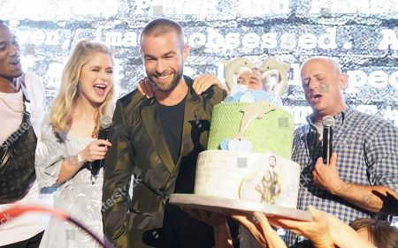 Erin Moriarty, Chace Crawford and Eric Kripke