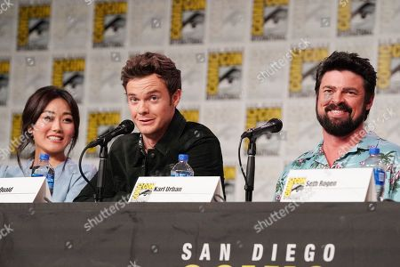 Karen Fukuhara, Jack Quaid and Karl Urban