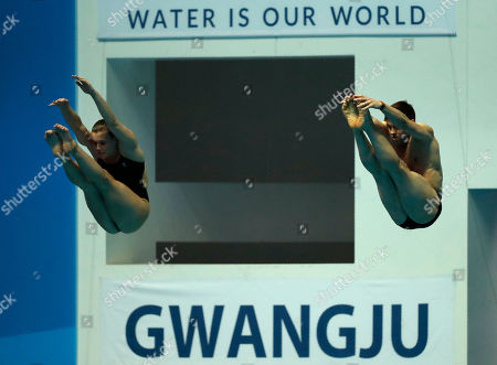 Stock Picture of Great Britain's Thomas Daley and Grace Reid compete in the mixed's 3m synchro springboard final competitions at the World Swimming Championships in Gwangju, South Korea