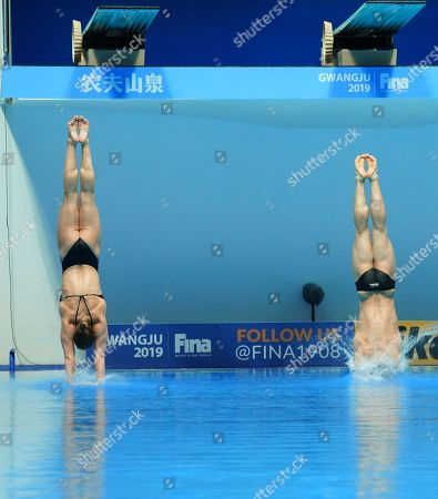 Thomas Daley and Grace Reid of Great Britain perform during the diving  Mixed 3 m Synchro Springboard Final of the FINA Swimming World Championships 2019 at the Yeomju gym in Gwangju, South Korea, 20 July 2019.