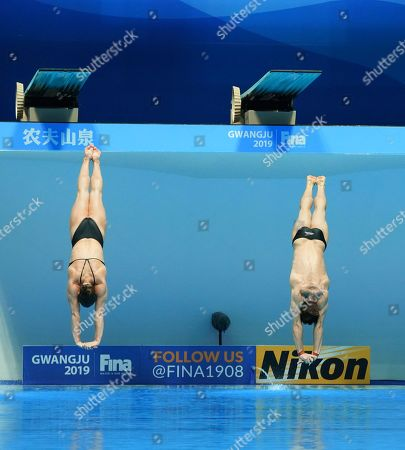 Stock Image of Thomas Daley and Grace Reid of Great Britain perform during the diving  Mixed 3 m Synchro Springboard Final of the FINA Swimming World Championships 2019 at the Yeomju gym in Gwangju, South Korea, 20 July 2019.