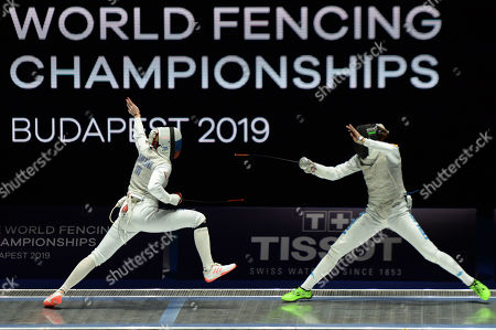 Elisa Di Francisca of Italy, right, and Inna Deriglazova of Russia compete during the  Women's Foil semi-finals match at SYMA Sports and Conference Centre