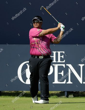 Thailand's Kiradech Aphibarnrat plays his shot from the 1st tee during the third round of the British Open Golf Championships at Royal Portrush in Northern Ireland