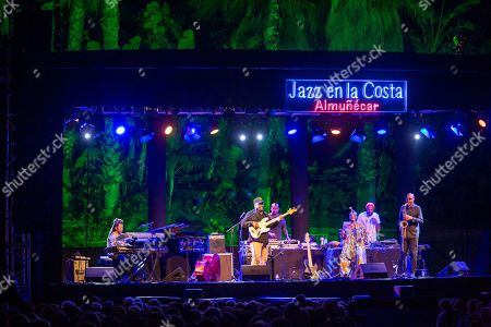 Stock Photo of From left to right, Patrice Rushen, piano and keyboards, Christian McBride, double bass and electric bass. DJ Logic, Alyson Williams, voice, DJ Jahi Sundance Lake, Ron Blake, saxophones. performs on the stage