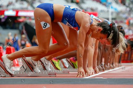 Celeste Mucci of Australia, Cindy Roleder of Germany, at the start of the 100m Hurdles Heat 1, during the Muller Anniversary Games 2019 at the London Stadium, London