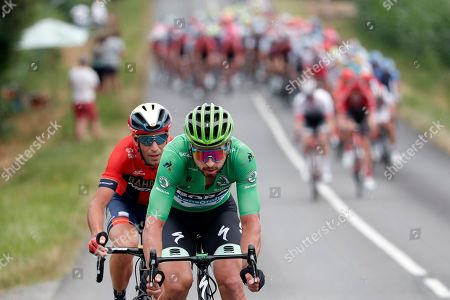 Italy's Vincenzo Nibali (L) of Bahrain Merida team and Slovakia's Peter Sagan (R) of Bora Hansgrohe team in action during the 14th stage of the 106th edition of the Tour de France cycling race over 117.5km between Tarbes and Col du Tourmalet, France, 20 July 2019.