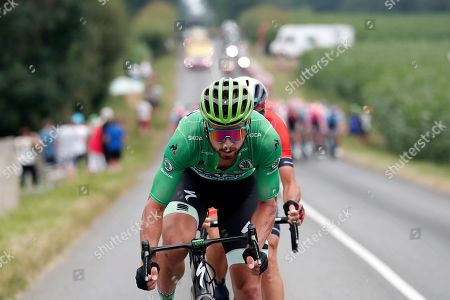 Slovakia's Peter Sagan (C) of Bora Hansgrohe team and Italy's Vincenzo Nibali (hidden) of Bahrain Merida team in action during the 14th stage of the 106th edition of the Tour de France cycling race over 117.5km between Tarbes and Col du Tourmalet, France, 20 July 2019.